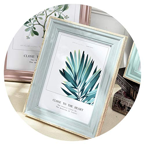 5 Sizes Rectangle Pictures Frames Resin Desk Table Decor Photo Frame with Transparent Organic Glass Wedding Family Photo Frames,Dian ya Crystal Blue,5 ()