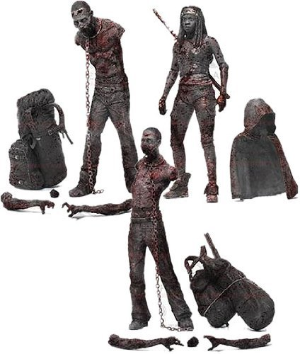 McFarlane Toys The Walking Dead TV Series 3 Bloody Black and White Michonne and Pet Zombie Action Figure, 3-Pack by B01C6LR56M