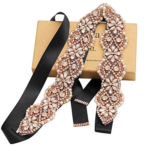 Yanstar Wedding Bridal Belts In Rose Gold Rhinestone Crystal Pearl With Black Sash For Wedding Dress Prom Gown-17.7In1.6