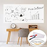 "KoalaBear Brand Dry Erase Sticker Office Wall Decal Peel and Stick Sheets Whiteboard Sticker Message Board 17""x 78"", with Two free Markers"