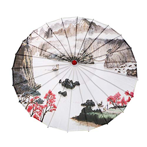 Alelife Chinese Silk Cloth Umbrella Classical Style Decorative Umbrella Oil Paper Umbrel - Photo Props Oil Paper Umbrella (A)