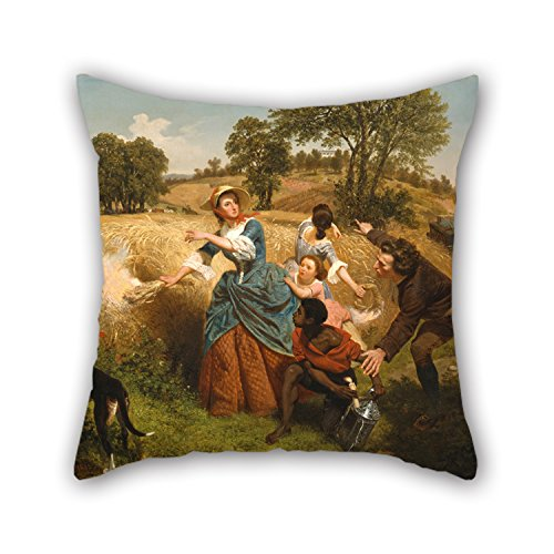 Oil Painting Emanuel Gottlieb Leutze - Mrs. Schuyler Burning Her Wheat Fields On The Approach Of The British Pillow Covers 18 X 18 Inches / 45 By 45 Cm Gift Or Decor For Adults Club Lover Kids Boy ()