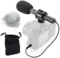 Movo On-Camera Stereo Video Microphone with Windscreens & Case for Nikon D850, D810, D800, D750, D610, D600, D500, D7500, D7200, D7100, D5600, D5500, D5300, D5200, D3300, D3200, D4, D4S, & D5 DSLR