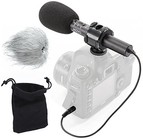 Movo On-Camera Stereo Video Microphone with Windscreens & Case for Nikon D850, D810, D800, D750, D610, D600, D500, D7500, D7200, D7100, D5600, D5500, D5300, D5200, D3400, D3300, D3200, D4, & D5 DSLR