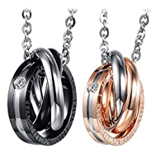"Cupimatch 2PCS Triple Rings Interlocking His& Her Matching Set Stainless Steel Couples Pendant Necklace, 18"" & 20"" Chain Included"