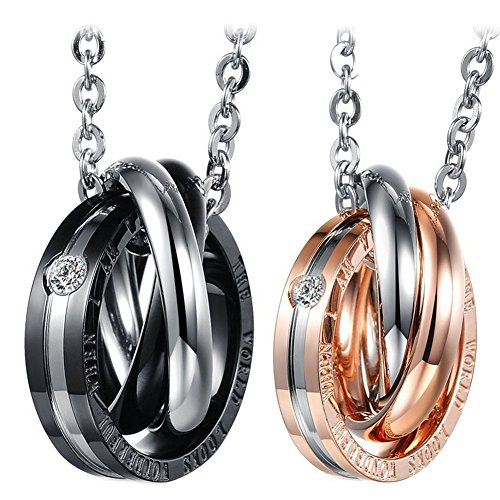 Cupimatch 2-Pieces Stainless Steel Couples Necklace Interlocking Rings Pendant Set, Chain Included