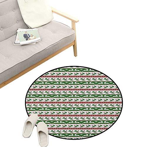 (Christmas Custom Round Carpet ,Jumping Reindeers Border with Xmas Mistletoe Poinsettia Flower, The Custom Round Non-Slip Doormat 23