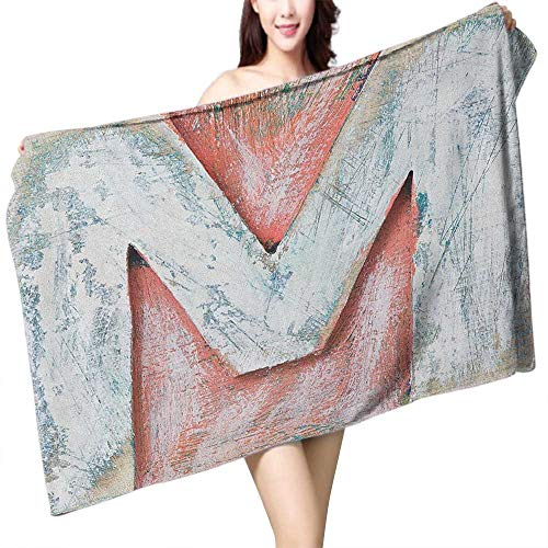 homecoco Custom Bath Towel Letter M Old Wood Capital Letter M Natural Worn Out Look Texture Language Image W28 xL55 Suitable for bathrooms, Beaches, ()