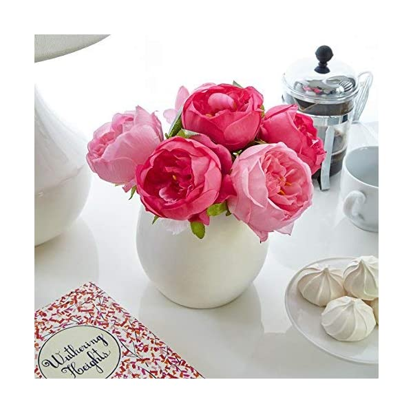 Butterfly-Craze-Artificial-Peony-Silk-Flower-Bouquet-for-Wedding-Floral-Arrangements-and-Home-Decoration-Fushia-Red-Color-10-Stem-Per-Set