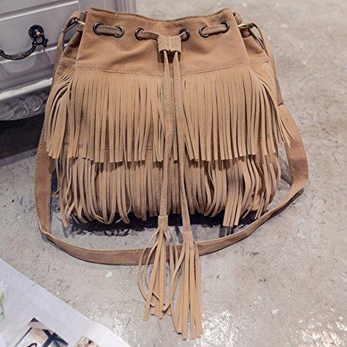Fringe Womens khaki Brown Shoulder body Bag Black Brown Suede Bag Bag Tassels Bucket Cross Faux Khaki Shoulder xfIIUSq