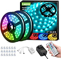 Lepro 65.6ft LED Strip Lights Kit, Ultra-Long RGB LED Light Strips, Dimmable Color Changing Light Strip with Remote...