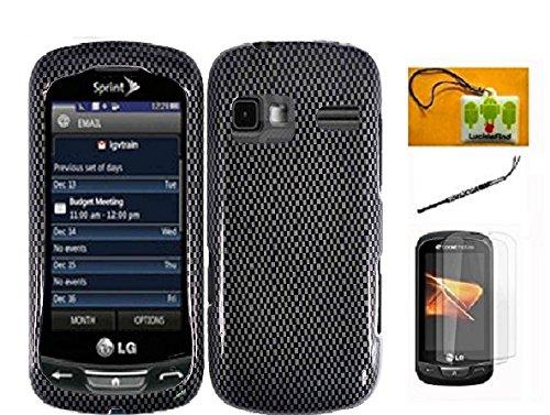 LF 4 in 1 Bundle Accessory - Carbon Fiber Designer Hard Case Cover, Lf Stylus Pen, Screen Protector & Wiper For LG Rumor Reflex LN272, LG Xpression C395C, LG Freedom, LG Converse AN272 (Hard Black) (Carbon Protector Faceplate Fiber)