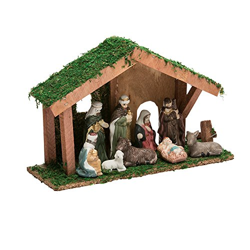 Kurt Adler N0292 1.4'' - 3.15'' Nativity Set with Figures & Stable by Kurt Adler