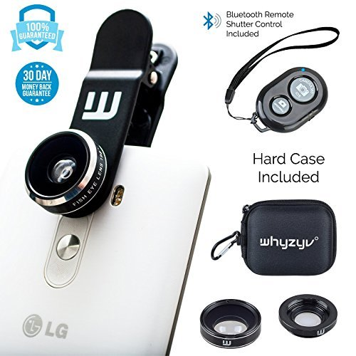 Clip-on Lens kit 3 in 1, Whyzyv smartphone & iPhone camera lens kit, Bluetooth Shutter Remote Control, Fisheye, Macro, Wide Angle cell phone lens for iPhone 7 6 6s Plus 5s, Samsung, MacBook, tablet