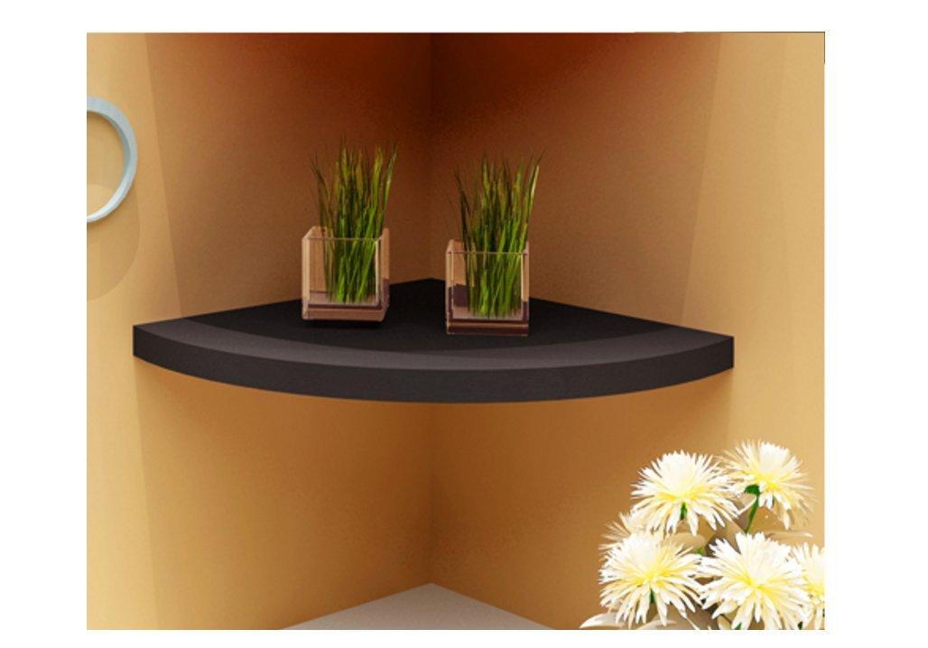 Wooden Floating Shelves - Wood triangle Wall Shelves,Lace engraving Corner Wall Shelf (Black)