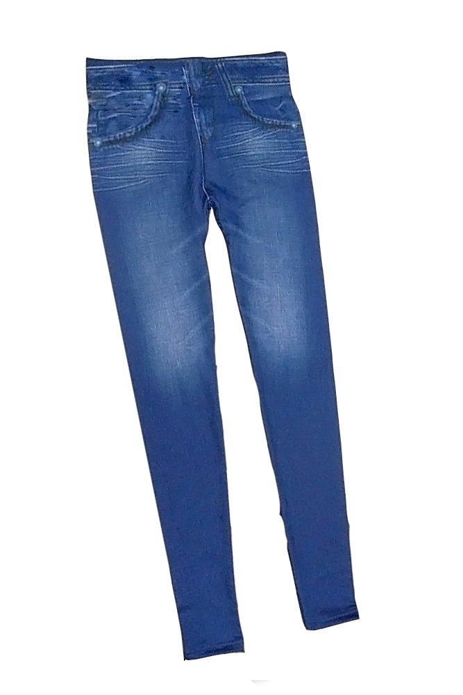 Vococal - Pantalones Vaqueros Imitado Inconsútil de Leggings para Mujeres con Bolsillos,Color Azul(L)