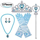 Bonallo Princess Dress Up Accessories Gift Set For Elsa Crown Scepter Necklace Earrings Gloves, Blue, 5 Pieces