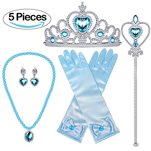Bonallo Princess Dress Up Accessories Gift Set For Elsa Crown Scepter Necklace Earrings Gloves, Blue, 5 Pieces]()