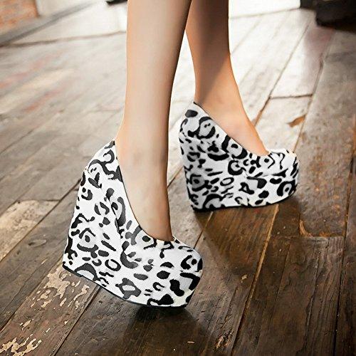 YE Damen Geschlossen Runde Zehe 6 Inch High Heels Plateau 16cm Absatz Leoparden Wedges Keilabsatz Party Pumps Shoes Schwarz