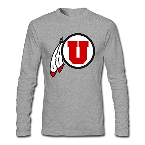 MINNRI Men's Utah Utes University Of Utah Long Sleeve T-shirt Grey XXL