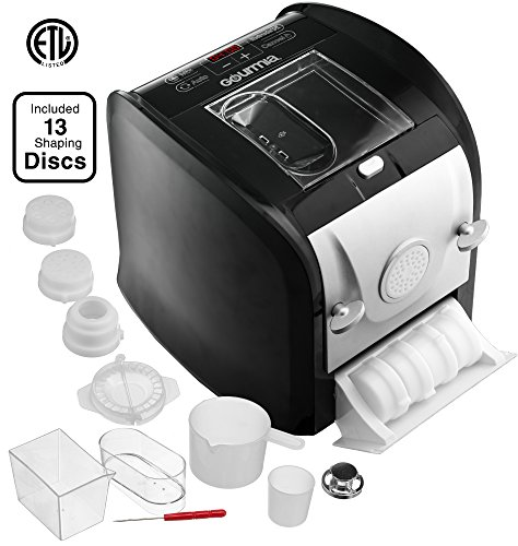 Gourmia GPM630 One Touch Automatic Pasta Maker - Mixes, Kneads & Extrudes -13 Shaping Discs, Makes 1LB Spaghetti, Macaroni, Fettuccine Lasagna & More Bonus Ravioli and Sausage Maker & Free Recipe Book by Gourmia