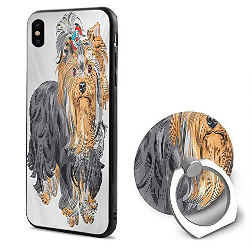 Yorkie iPhone x Cases,Terrier with Cute Bow on Head Colored Sketch Speckled Dog Lifelike Beast Yorkie Grey Apricot,Mobile Phone Shell Ring Bracket