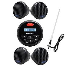 "MarineMaxx 4"" Marine Stereo Bluetooth Marine Gauge Audio Receiver FM AM Radio USB MP3 AUX Input Round/Circle +2 Pairs of 3 inch Waterproof Marine Speaker+Marine FM AM Radio Antenna White"