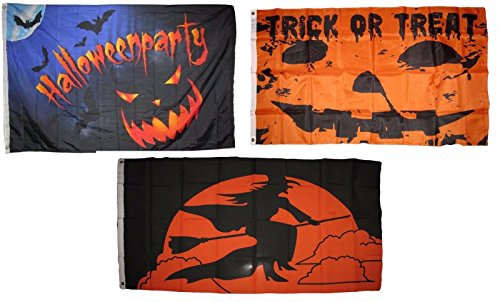 ALBATROS 3 ft x 5 ft Happy Halloween 3 Pack Flag Set #66 Combo Banner Grommets for Home and Parades, Official Party, All Weather Indoors Outdoors ()