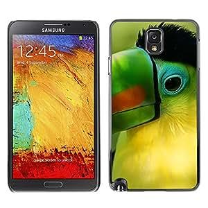 Qstar Arte & diseño plástico duro Fundas Cover Cubre Hard Case Cover para SAMSUNG Galaxy Note 3 III / N9000 / N9005 ( Parrot Green Beak Tropical Bird Nature)