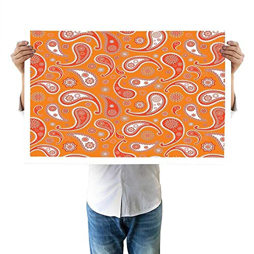 - Burnt Orange Walls Islamic Paisley Ethnic Unusual Motifs with Eastern Oriental Patterns Decorative Decor 32