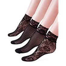 Vero Monte 4 Pairs Women's Lace Fishnet Ankle Socks *Stylish Black + Hollow Out*