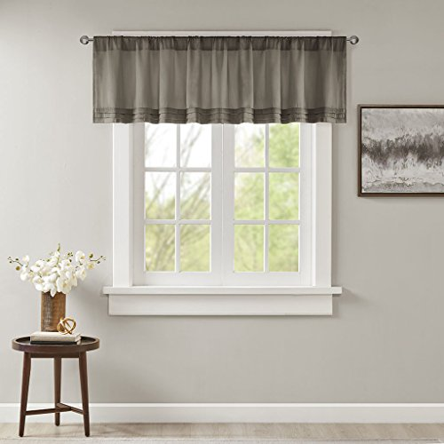 Emily Solid Pleated Rod Pocket Valance , Classic Faux Silk Valances for Window , 50X18
