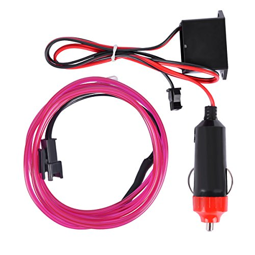 AutoEC Round Wire Flexible Neon Light Glow EL Wire Rope Tape Cable Strip LED Neon Lights (1m 3ft, Purple)