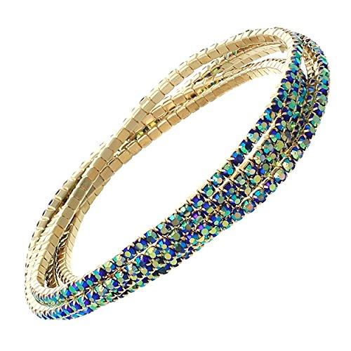 Rosemarie Collections Women's Set of 5 Rhinestone Stretch Bracelets (Gold Tone/Blue)