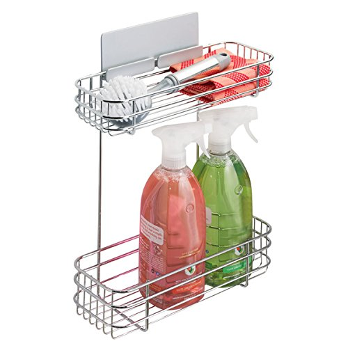 mDesign AFFIXX 2-Tier Kitchen Organiser for Dish Cloths, Sponges and More - Self-Adhesive Steel Storage Basket - Ideal Kitchen Storage Solution - Chrome MetroDecor