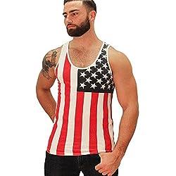 PlayWorld Mens American Flag Star Print Tank Top Shirt (Fourth of July)