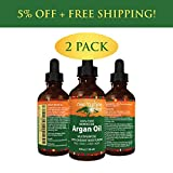 (2-Pack) Pure Argan Oil for Skin - Best for Hair, Skin and Nails - 100% Natural Virgin Moroccan Argan Oil is a Great Shampoo, Conditioner, Hair Spray, Mask and Excellent Hair Growth and Loss Treatment