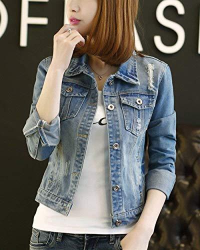 Outerwear Taille Vintage Slim Manches Jean Femme Denim Vestes Blau Mode Elégante Longues Revers Courte Fit Vetements Hell Manteau Bleu Désinvolte Grande wtnt1XTq