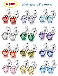 Thunaraz Multicolor Stainless Steel Brilliant Cut Round Cubic Zirconia Round Square Royal King Crown Set (12 Pairs) Stud Earrings for Women Girls