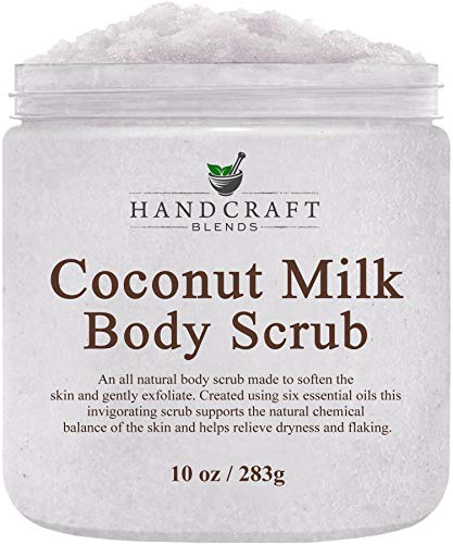 Handcraft Coconut Milk Body Scrub - All Natural - Made With Dead Sea Salt and Essential Oils for Body, Cellulite, Stretch Marks, and Varicose Veins - 10 oz