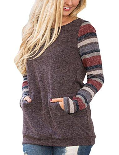 Women's Color Block Tunic Tops Long Sleeve Lightweight Sweatshirt T Shirt with Kangaroo Pocket Brown M