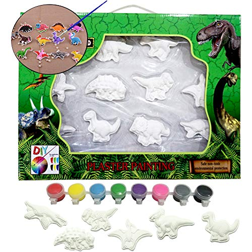 THREE BEARS Decorate Your Own,Ready-to-Paint Dinosaur Figurines Bank Craft Kit Magic Painting Plaster Art & Creativity Set for Boys and Girls ()