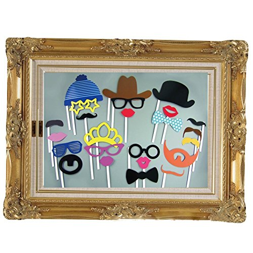 24pcs Party Photo Booth Props With Brassiness Vintage Style Paper Photo Booth Props Picture Frame,Glasses Mustache Lips For Party, - Frame Vintage Shop