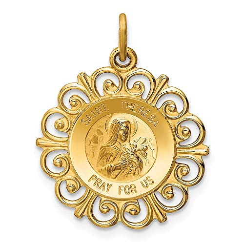 14k Yellow Gold Saint Theresa Medal Pendant Charm Necklace Religious Patron St Thoma Fine Jewelry Gifts For Women For Her ()