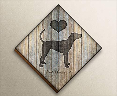 Bluetick Coonhound Diamond Shaped Mounted Dog Art Print by Dan Morris