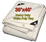 Tarpsupply 30'x40' Heavy Duty 12 By 12 Cross Weave 10 Mil White Poly Tarp with Grommets Approx Every 18 Inches All Around, Corner Solid Plastic Bar Reinforcement for Extra Strength