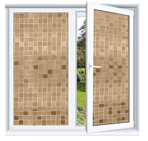 Glue Gold Glass (Prismoon No Glue 3D Static Decorative Frosted Privacy Window Films for Glass 23.6 x 78.7inch (60 X 200cm) Upgrade Version for Home Kitchen Office Big Mosaic)