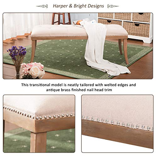 HARPER & BRIGHT DESIGNS Upholstered Button Tufted Bench with Solid Wood Legs and Nailhead Trim (Fabric Beige) by Harper & Bright Designs (Image #4)