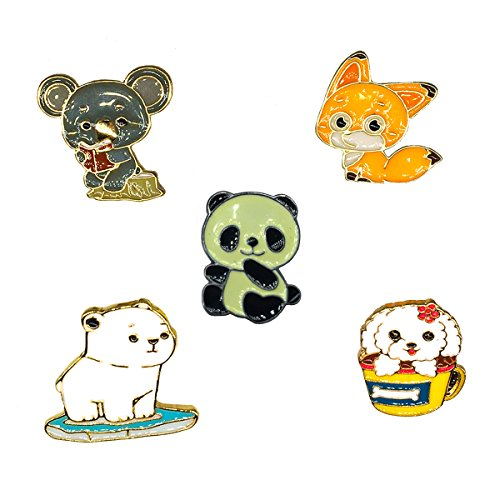 (MeliMe Funny Enamel Brooch Pin Set Cute Cartoon Brooches Lapel Pins Badge for Kids Children Jean Bag Clothes Decoration (Style 13) )