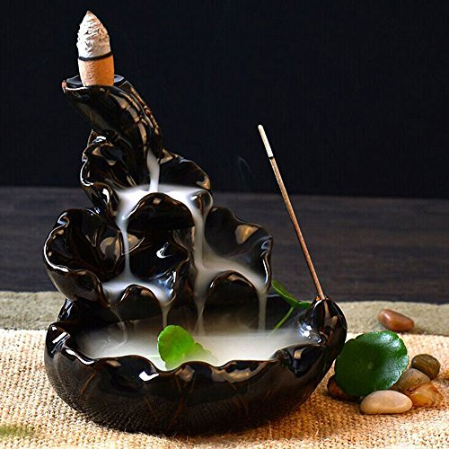 (Dirance Exquisite Ceramic Glaze Cigarette Placer Burner Reflux Fragrant Furnace Tower, Gift Chinese Style Classical Home Decoration Beautiful Gift)